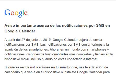 Fin de SMS en Calendar